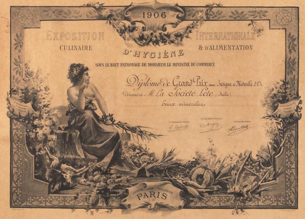 1863 Riconoscimento dell'Esposition Internazionale Culinaire e D'alimentation